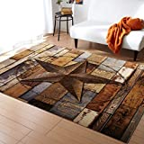 FunkyHome Large Area Rug 2x3ft Rustic Texas Star Collection Area Runner Rugs Barn Wood Non Slip Carpets for Living Room Bedroom Indoor Outdoor Nursery Rugs Décor