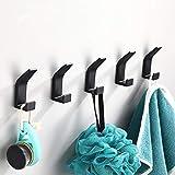 5 Pièces Crochet Adhésif,Crochet Double Porte Serviette Salle de Bain,Accroche torchons,Anti-rouille et étanche Porte Serviette Avec Adhésif, Famille Cuisine de Salle de Bain,Bureau,Auto-Adhesif-Noir