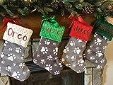 Personalized Dog Christmas Stocking, Paw Print Christmas Stocking, Personalized Puppy Christmas Stocking