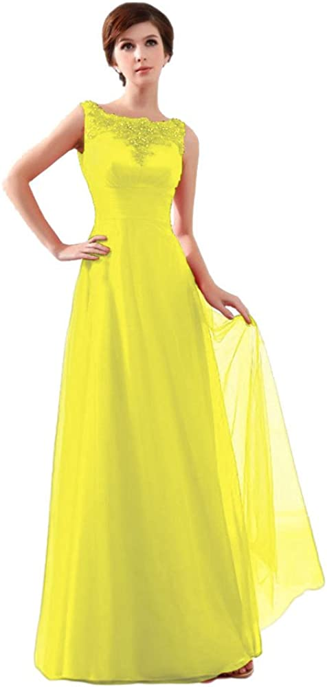 Beauty-Emily Women's lace Sleeveless Wedding Bridal Formal Evening Dresses Color Yellow,Size 22W