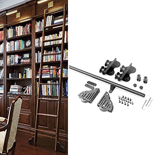 DTDMY Escalera con Ruedas Deslizante para Biblioteca, Hardware Deslizante para Biblioteca con riel Negro, Kit de Hardware para Puerta de Granero Deslizante, Suave y Silenciosamente, fácil de Instalar