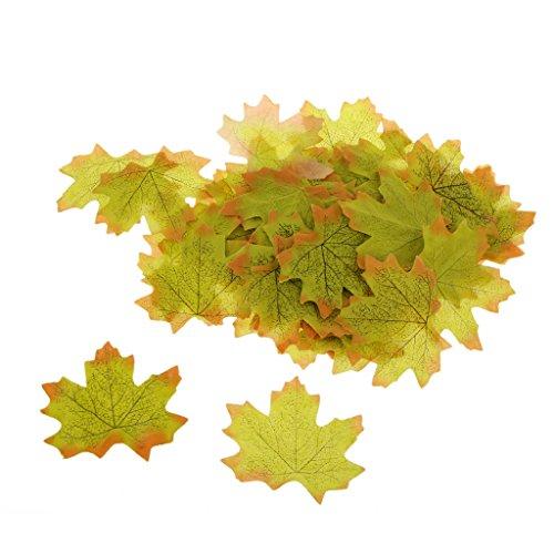 Lot de 100 feuilles d'érable artificielles pour décoration d'intérieur/jardin/mariage vert