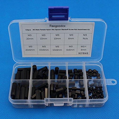 Raogoodcx Lot de 120 écrous hexagonaux M3 en nylon avec boîte (M3-Nylon)