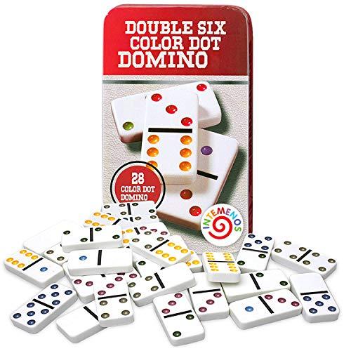 inTemenos Dominó - Juego de dominó (28 baldosas dobles, 6 blancas), diseño de número clásico en caja metálica roja