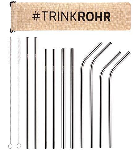 TRINK ROHR Premium Edelstahl-Strohhalme 10er Set, Metall Trinkhalme, 2 Reinigungsbürsten, Wiederverwendbar Plastikfrei Verpackt, Ideal für Smoothie, Cocktail