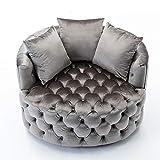 Goujxcy Swivel Barrel Chair,42.9' Velvet Round Swivel Sofa Chair,Modern Living Room Leisure Chair