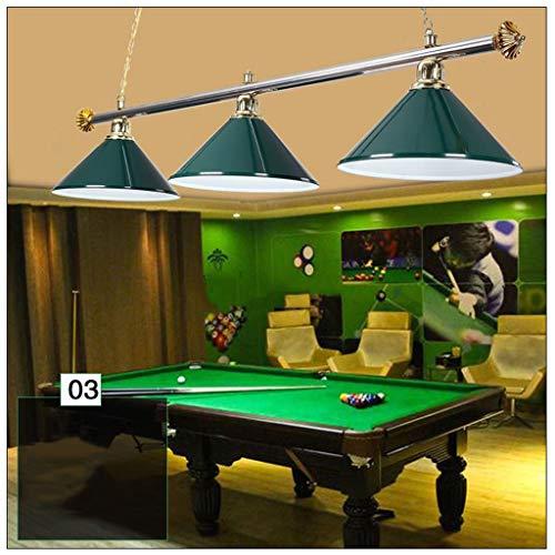 Candelabros de escalera, candelabros colgantes de piscina de ocho billares negros con 3 pantallas de luz, luces colgantes industriales creativas de sala de billar para cocina, comedor, bar, club, iluminación de dormitorio A