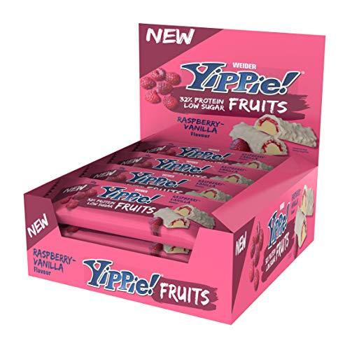 NEU! Weider Yippie! Fruits Protein Bar Eiweißriegel, Raspberry Vanilla, 12 Stück á 45 g, fruchtiger Protein Snack