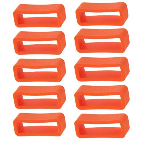 Sharplace 10 Piezas Bucle Retenedor de Silicona para Correa Banda de Reloj (14 / 16 / 20 / 24 mm) - Naranja, 20 mm