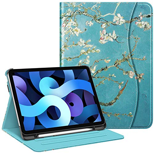 FINTIE Case for iPad Air 4th Generation 10.9 Inch 2020 with Pencil Holder, Multi-Angle Viewing Folio Smart Stand Cover with Pocket, Auto Sleep/Wake, Blossom