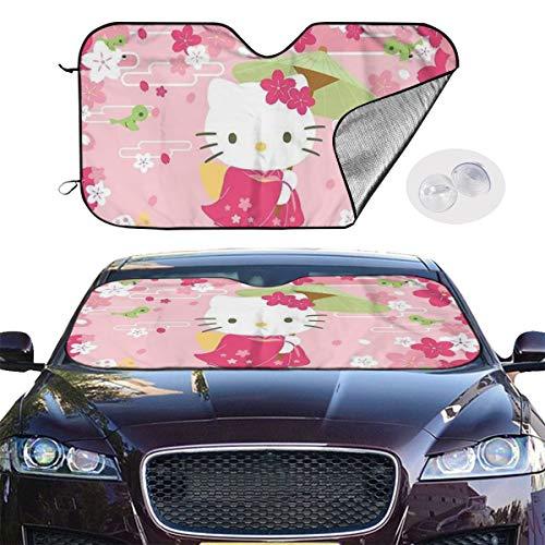 YQLDFB Parasol Elegante para Parabrisas de Coche, diseño de Hello Kitty, protección contra Rayos UV, Mantiene el vehículo Fresco