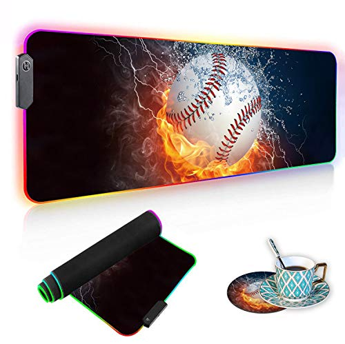 Luasao RGB Gaming Mouse Pad with Coffee Coaster, Burning Baseball Fire and Water Design XXL Large Glowing LED Mousepad, Anti-Slip Rubber Base, Computer Keyboard Desk Mouse Mat 31.5 X 11.8 h