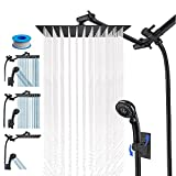 LOHNER Rainfall Shower Head Combo with Hose, Luxurious Stainless Steel 10'' Rain Showerhead and 5 Settings Handheld Combo with Push Button Flow Control, with Adjustable Shower Arm (Matte Black)