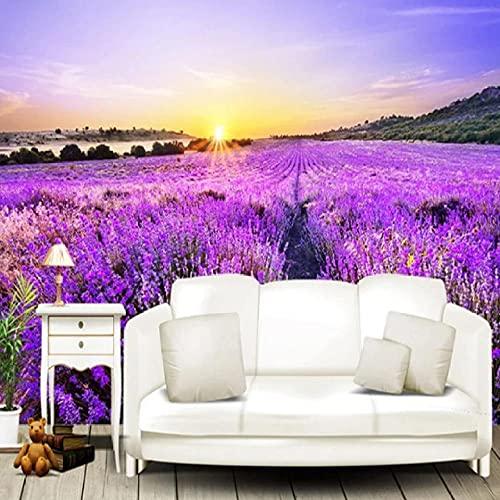 Cajgvavj Papier Peint Mural Personnalisé 3D Stéréo Romantique Violet Lavande Fresque Auto-Adhésif Étanche Peinture Murale Papel De Parede Autocollants