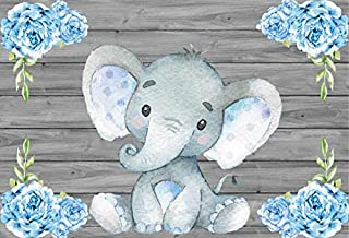 AOFOTO 7x5ft Cute Baby Elephant Backdrop Baby Shower Party Decoration Photography Background Sweet Watercolor Flower Cartoon Animal Photo Studio Props Newborn Infant Girl Kid Boy Child Birthday Banner