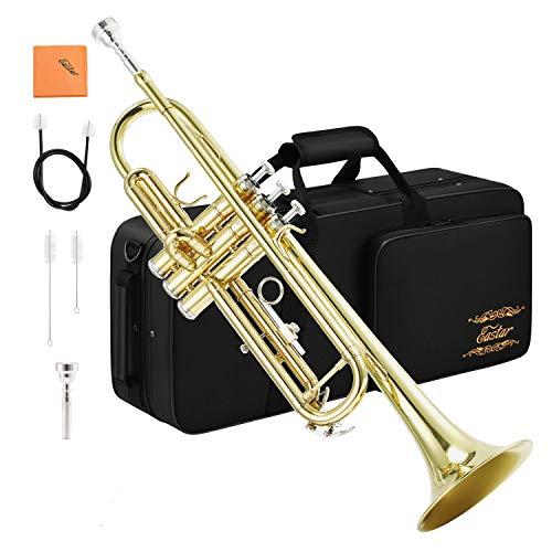 Eastar Bb Trompete mit Koffer Mundstück Reinigungsanzug Reinigungstuch, Gold (ETR-380)