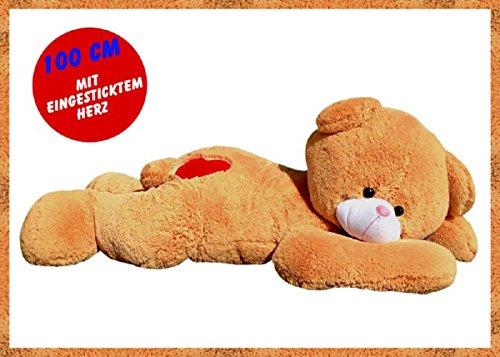 TE-Trend XXL Riesenteddy Geschenk Bär Teddybär Kuscheltier Plüsch Stoff Riesen Teddy 100cm liegend Herz Braun