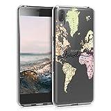 kwmobile Hülle kompatibel mit Sony Xperia L3 - Hülle Handy - Handyhülle - Travel Schriftzug Schwarz Mehrfarbig Transparent