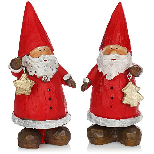 com-four 2x decorative Santa Claus standing - Santa Claus figure made of plastic - decorative Santa to stand [selection varies]