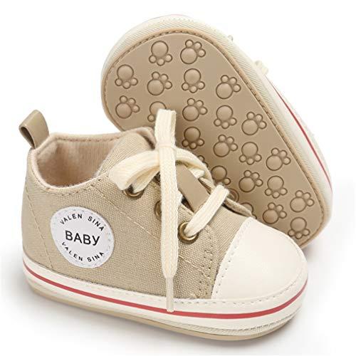 AUPUMI Kinder Baby Junge Mädchen Weiche Sohle Kleinkind Schuhe Leinwand Sneaker Baby Turnschuh Babyschuhe Lauflernschuhe Krabbelschuhe (Einlegesohlenlänge: 11cm=4 3/8in 6-9 Monate, Beige)