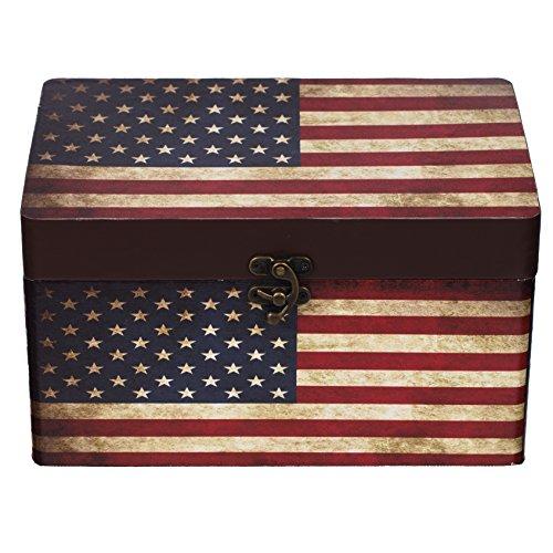 Truhe Kiste 11A6028 USA, Holztruhe mit Canvas bezogen im Vintage Look, Schatzkiste,Kiste, Piratenkiste, Kleinmöbel, Mit Metallbeschlägen, Antikoptik, Holz, verschieden Größen, Maritim, Deko, Hochwertig, Kolonialtruhe, Kolonialstil, Holzbox, Truhe mit Ornamenten . (Größe XL 30cm x 20cm x 17cm)