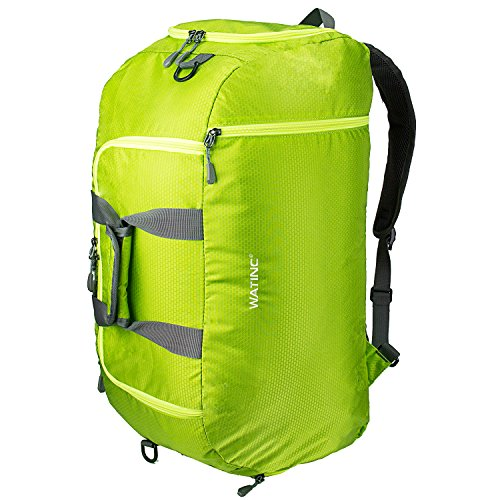 WATINC 50L 3-Way Travel Duffel Backpack Luggage Gym Sports Bag with Shoe Compartment (Grass green)