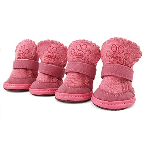 URBEST 4PCS Nonslip Sole Booties Puppy Dog Winter Shoes Pink XXXS