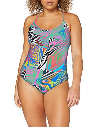 ARENA Costume da Bagno da Donna, 1 Pezzo Twist Back Reversible One, Donna, Costume da Bagno, 0000003058, Grigio Cenere Multicolore, 44