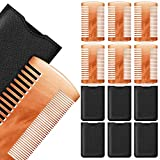 6 Pieces Beard Comb Natural Sandalwood Wooden Moustaches Combs Dual Action Teeth Beard Comb with 6 Pieces Pocket Faux Leather Case for Beards Moustaches (Yellow)