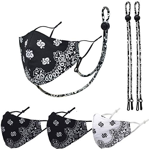 3 Packs Cotton Face Mask,Adjustable Earloop, Washable and Reusable (Black Black White)