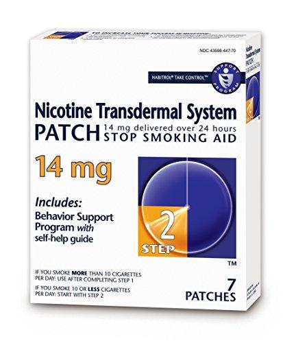 Habitrol Nicotine Transdermal System Patch | Stop Smoking Aid | Step 2 (14 mg) | 7 Patches (1 Week Kit)