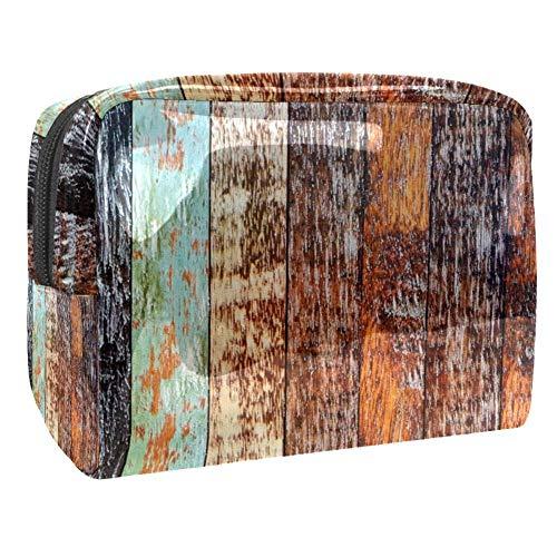 TIZORAX Lot de sacs cosmétiques en PVC de couleur assortie de planches de bois de couleur assortie, trousse de toilette de voyage organiseur pratique pour femme