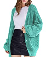 QUALFORT Women's Cardigan Sweater 100% Cotton Button-Down Long Sleeve Oversized Knit Cardigans Mint Large