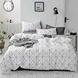 HIGHBUY Premium Cotton Plaid Full Bedding Sets White 3 Piece Men Boys Queen Geometric Duvet Cover Set Reversible Checkered Kids Comforter Cover Queen Lightweight Bedding Collection for Teen