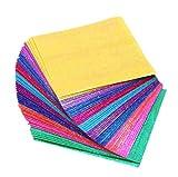 50 PCS 10 couleurs brillant unique côté carré pliage à la main pli origami papier irisé scintillement...