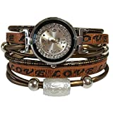 MINILUJIA Double Wrap Around Engraved Leather Women Watch Vintage Casual Bohemian Style Adjustable Beads Watch 25mm Silver Artificial Crystal Dial (Brown)