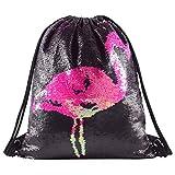 Segorts Flamingo Pailletten Beutel Rucksack Kordelzug Meerjungfrau Tunnelzug Tasche Glitzernden Outdoor Schultertasche Tanztasche Schwarz für Kinder Mädchen Party Geschenk