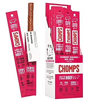 Chomps Grass Fed Cranberry Habanero Beef Jerky Snack Sticks Keto & Paleo Whole30 Non-GMO Gluten Free Nitrate Free 100 Calorie Snacks 1.15 Oz Meat Stick Pack of 24