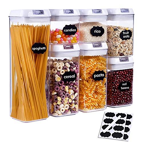 SUCHDECO Lot de 7 Boîtes alimentaires hermétiques, Boîte de conservation alimentaire, Boîte de rangement de cuisine, en plastique sans BPA, pour Spaghetti Céréales Bonbons, avec Étiquettes Marqueur