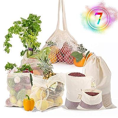 Reusable-Cotton-Mesh-Produce-Shopping-Bags-Washable-Eco-Friendly-Women Organic Biodegradable Grocery Drawstring bags Lightweight Net Zero Bulk For Veggie Fruit Vegetable Toys Supermarket Storage Gifts