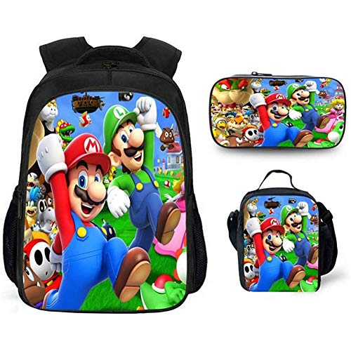 HOOBBI Waterproof Material Backpack Set Game Character Anime Backpack Comfortable Breathable School Bag with Lunch Bag and Pencil Bag (Color : Mario2)