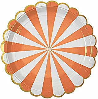 Meri Meri Toot Sweet Large Orange Striped Plate
