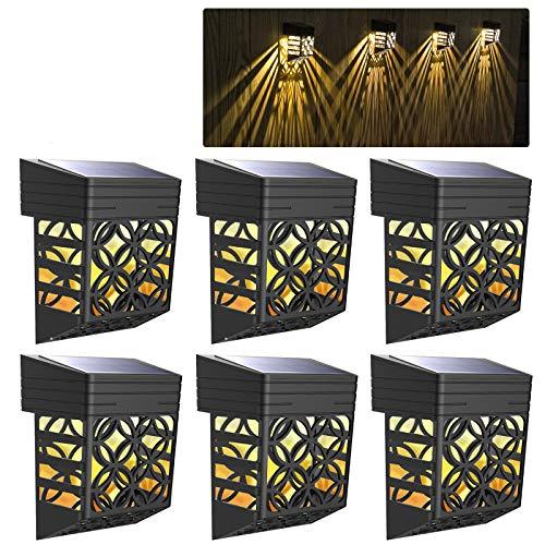 Tyhbelle Solarleuchten für Außen, 6 Stück Solarlicht mit hohlem Design LED Wandleuchte Aussen Warmweiß Garten Wand SunPower kabellos Zaun Beleuchtung