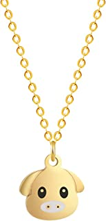 METTU Cute Pig Head Pendant Necklace for Kids Birthday Gift Graduation Gift Friendship Jewelry