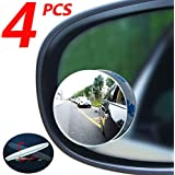 Car blind spot mirror 4pcs, convex mirror, round frameless HD wide-angle glass rearview mirror, 360 ° swing adjustment, suitable for all cars, SUV and trucks