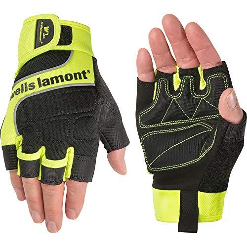 Wells Lamont Men's Hi-Viz Fingerless Synthetic Leather Work Gloves