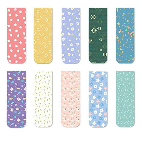 Segnalibri magnetici a forma di fiore colorato per donne, ragazze e bambini, 10 pezzi (fiori)