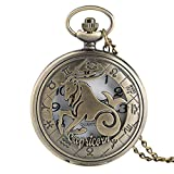 IOMLOP Pocket Watch 12 Constellation Astrology Zodiac Retro Pocket Watch Bronze Necklace Pendant Mens Women Hollow Flip Cover Quartz, Capricorn