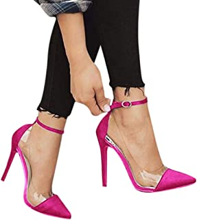 Womens Pointed Toe Transparent Sandals Ankle Strap High Stiletto Heel Pumps Shallow Sandals Party Shoes
