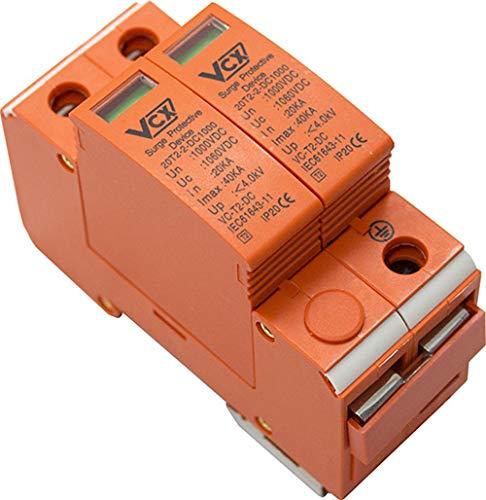 Überspannungsschutz 1000V 20KA Solarlange Blitzschutz für DC Photovoltaik C T2 2P